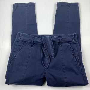 {Anthropologie} Blue Tie Waist Skinny Pants